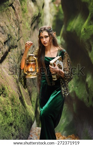 female elves is a fabulous mountains of the lamp so book in his hands - stock photo