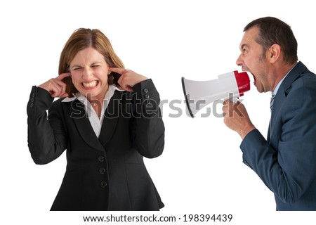 female employee being yelled at by male manager on white - stock photo