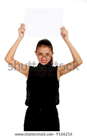 female employee holding a white blank placard - stock photo