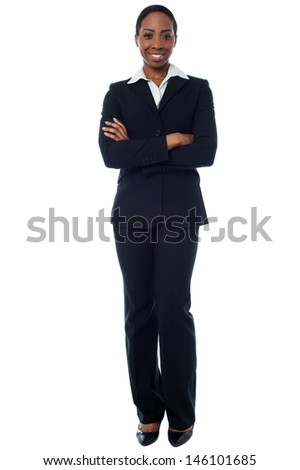 Female employer posing with arms crossed - stock photo