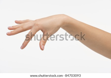 Female empty open hand isolated on white background