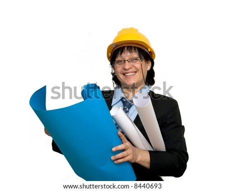 female engineer at work studio isolated
