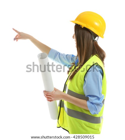 Female engineer in vest and helmet holding rolled blueprint isolated on white