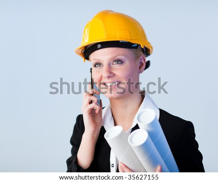 Female engineer talking on the phone