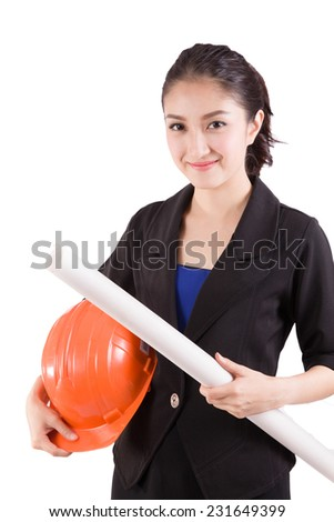 Female engineer with a white background - stock photo