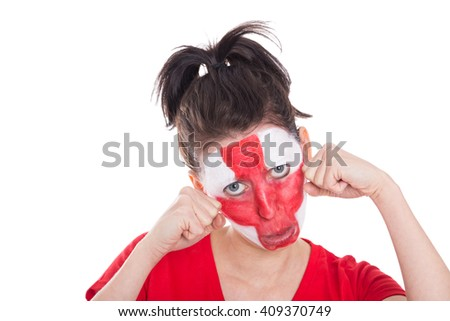 female english soccer fan is looking sad, isolated on white - stock photo