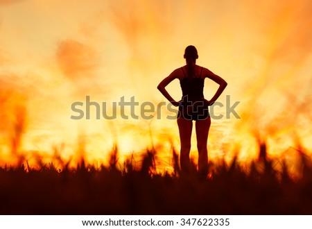 Female enjoying nature.  - stock photo