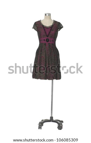 Female evening gown  clothing on mannequin isolated