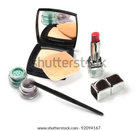 Female everyday cosmetics isolated on white background