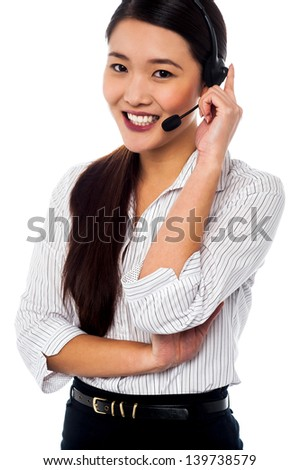 Female executive assisting customers. Isolated over white - stock photo