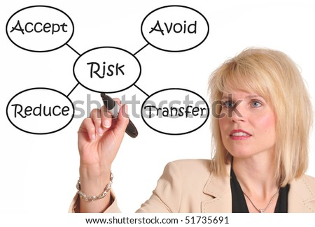Female executive drawing a risk management chart - stock photo