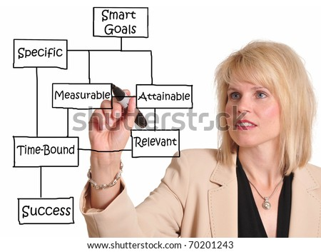 Female executive drawing Smart Goal concept on a whiteboard. Smart Goals lead to success - stock photo