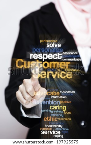 "Female Executive press virtual Screen-""Customer Service word cloud arrangement"""