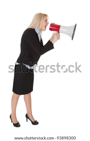 Female executive yelling through a megaphone. Isolated on white