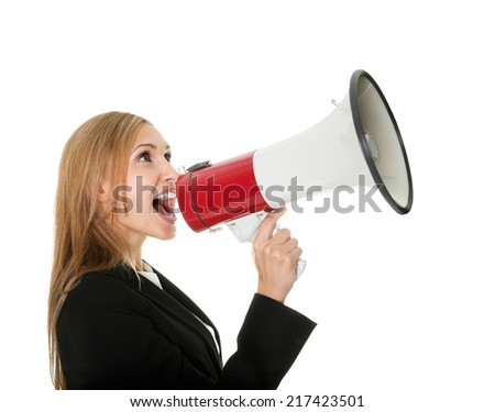 Female executive yelling through a megaphone isolated on white background.
