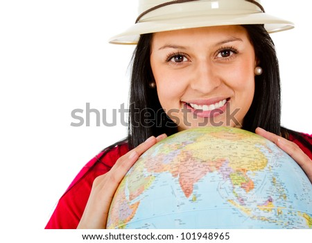 Female explorer with the globe in her hands - isolated - stock photo