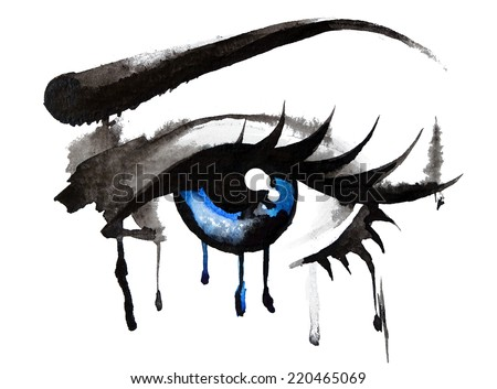 Female eye of blue color, digital watercolor effect. - stock photo