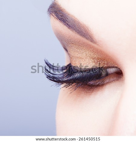 Female eye with long eyelashes closeup shot  - stock photo