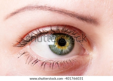 Female eye with makeup close up background.