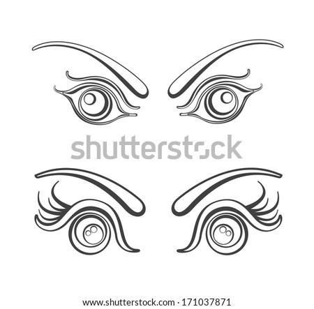 Female eyes illustration.  - stock photo