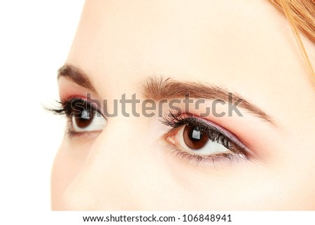 female eyes with beautiful make-up - stock photo