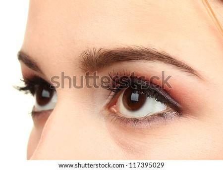 female eyes with beautiful make-up - stock photo