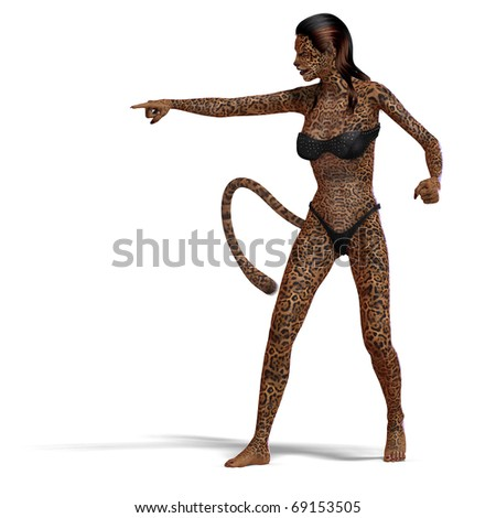 female fantasy deer creature. 3D rendering with clipping path and shadow over white