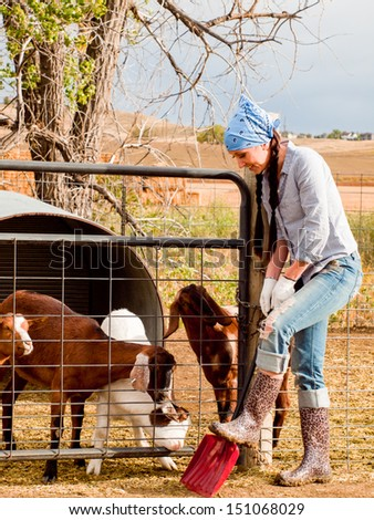 Female farmer on the ranch.