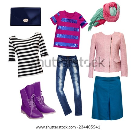 Female fashion clothes set. Woman wear collage. - stock photo