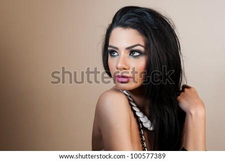 female fashion model wearing jewellery - stock photo
