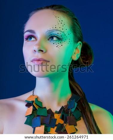 female fashion model wearing  Jewelry - stock photo