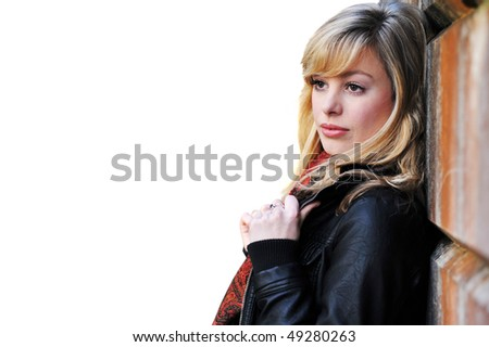 Female Fashion Portrait Isolated Against White - stock photo