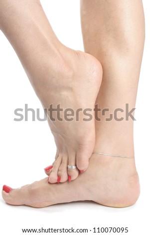 Female feet isolated  over white background - stock photo