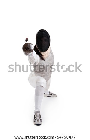 Female fencer isolated on white - stock photo