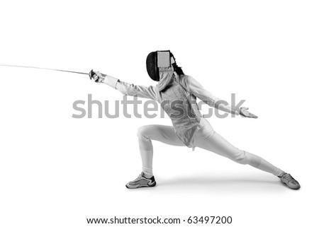 Female fencer isolated on white (black and white photo) - stock photo