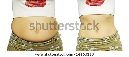 Female figure before growing thin and after growing thin - stock photo