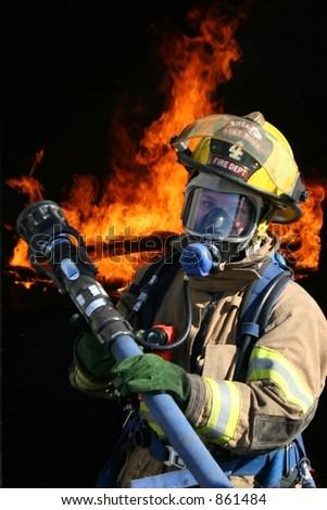 Female Firefighter - stock photo