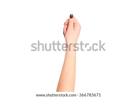 Female fist isolated on a white background. - stock photo