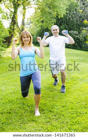 Female fitness instructor exercising with middle aged man in green park - stock photo