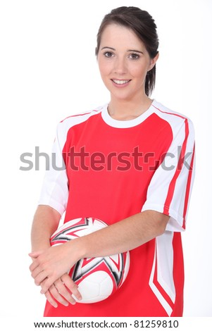 Female football player - stock photo