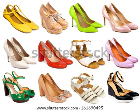 Female footwear collection on white background - stock photo