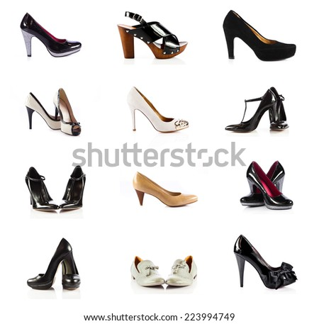 female footwear. female shoes over white. Collection of various types of female shoes - stock photo
