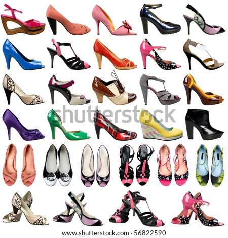 female footwear on a white background. 30 pieces. - stock photo
