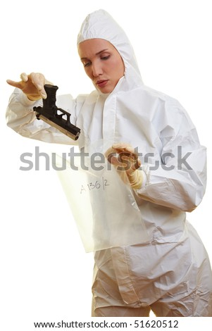 Female forensic scientist holding a weapon as evidence - stock photo
