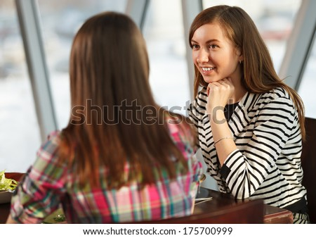 Female Friends Having Lunch - stock photo