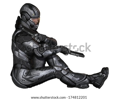 Female futuristic science fiction soldier in protective armoured space suit, sitting at rest holding pistols, 3d digitally rendered illustration - stock photo