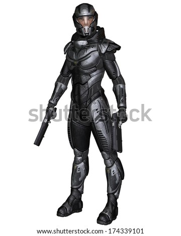 Female futuristic science fiction soldier in protective armoured space suit, standing holding pistols, 3d digitally rendered illustration - stock photo