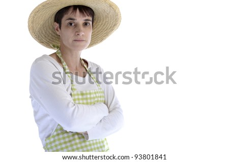Female gardener with watering can. Isolated on white background