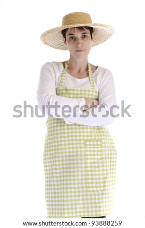 Female gardener with watering can. Isolated on white background - stock photo