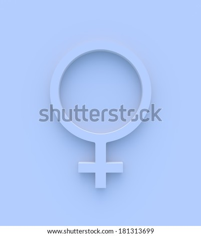 Female gender symbol in blue. High quality 3D illustration. - stock photo